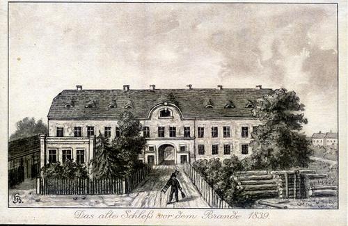 historische galerie das alte schlo vor dem brande 1839 forst lausitz. Black Bedroom Furniture Sets. Home Design Ideas